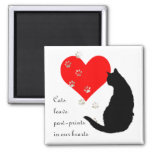 Cats leave Paw-Prints in our Hearts Square Magnet