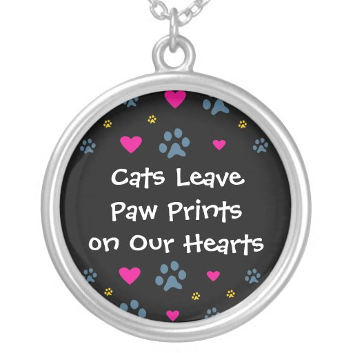 Cats Leave Paw Prints on Our Hearts Custom Necklace