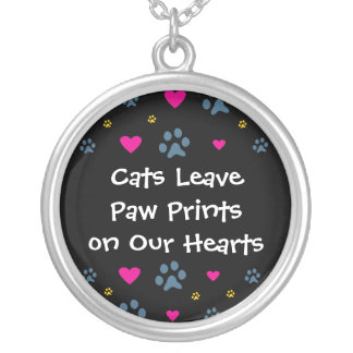 Cats Leave Paw Prints on Our Hearts Round Pendant Necklace