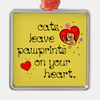 Cats leave pawprints on your heart christmas ornament
