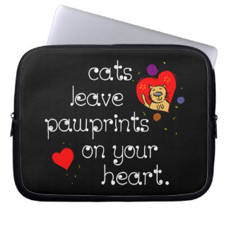 Cats leave pawprints on your heart. laptop computer sleeves
