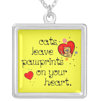 Cats leave pawprints on your heart. square pendant necklace
