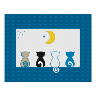 Cats Looking Moon print - poster