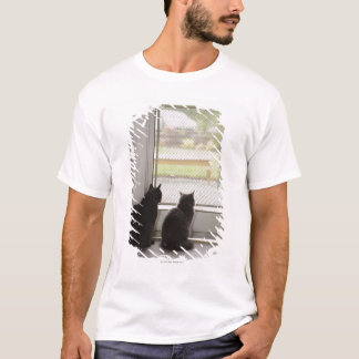 Cats looking out screen door T-Shirt