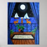 Cats Magical Night Nite Magic Poster