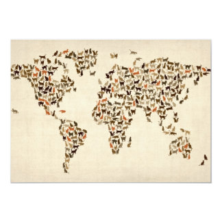 Cats Map of the World Map 13 Cm X 18 Cm Invitation Card