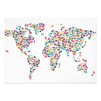 Cats Map of the World Map Custom Invite