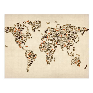 Cats Map of the World Map Postcard
