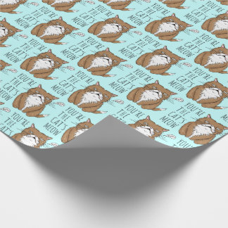 Cat's Meow Funny Cat Meh Blue Wrapping Paper