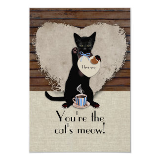 Cat's Meow Valentine Card 9 Cm X 13 Cm Invitation Card