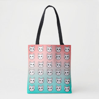 Cats Mint Coral White Pattern Tote Bag