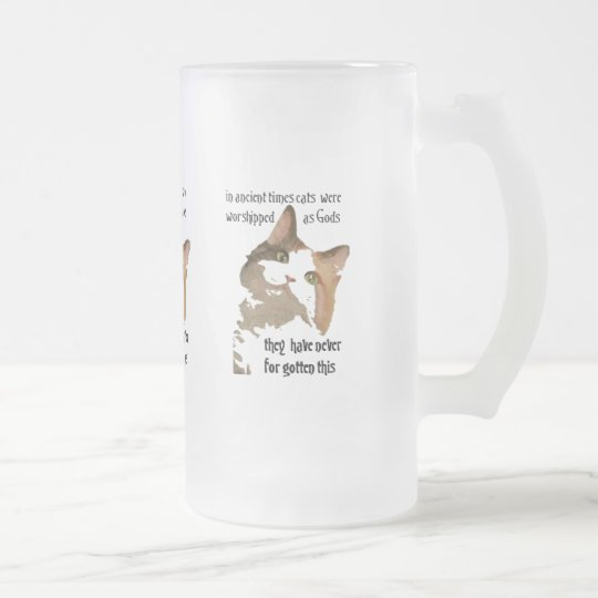 Cats Never Forget Frosted Glass Beer Mug