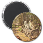 Cats on a Bench Artwork Refrigerator Magnets
