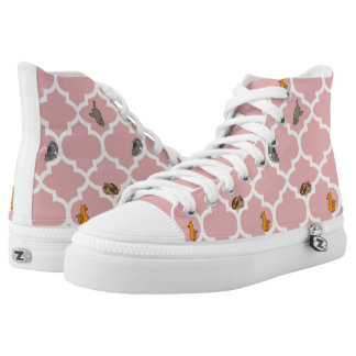 Cats on a Lattice - Pink Printed Shoes