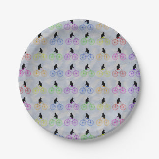 Cats on Bikes Paper Plate