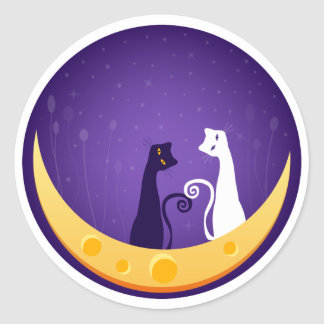 Cats on Moon Classic Round Sticker