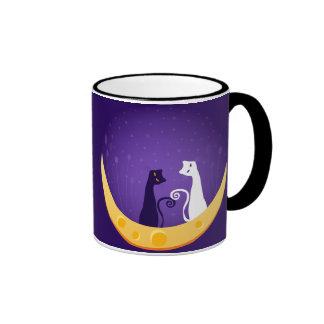Cats on Moon Mugs
