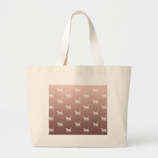 Cats on Rose Gold Large Tote Bag