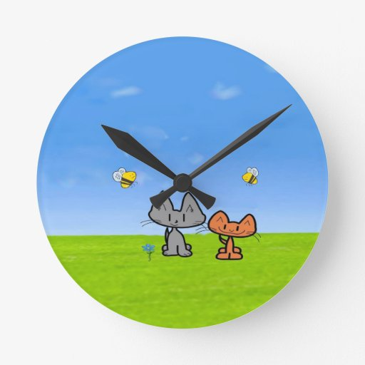 Cats Outside With Bees Round Wallclock