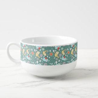 Cats paisley cartoon illustration soup mug