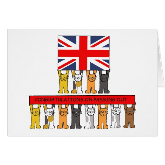 Cats Passing Out Congratulations Card