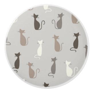 Cats pattern ceramic knob