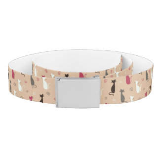 cats Pattern Pink Belt