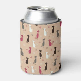 cats Pattern Pink Can Cooler