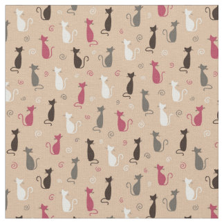 cats Pattern Pink Fabric