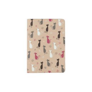 cats Pattern Pink Passport Holder