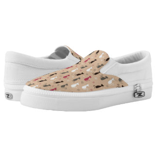 cats Pattern Pink Printed Shoes