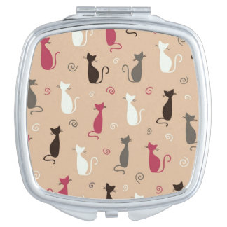cats Pattern Pink Travel Mirrors