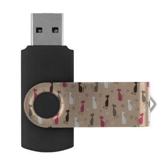 cats Pattern Pink USB Flash Drive