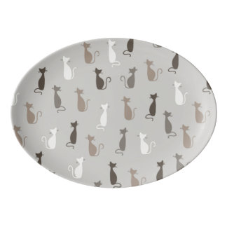 Cats pattern porcelain serving platter