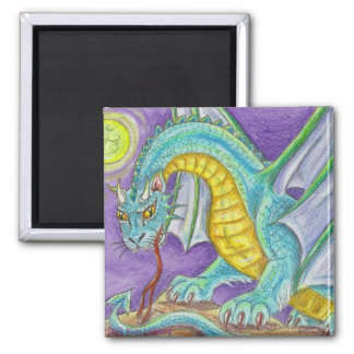 Cats Paw Dragon Fantasy Art Square Magnet