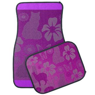 Cats Pet Butterfly Flowers Pink Pastels Car Mat