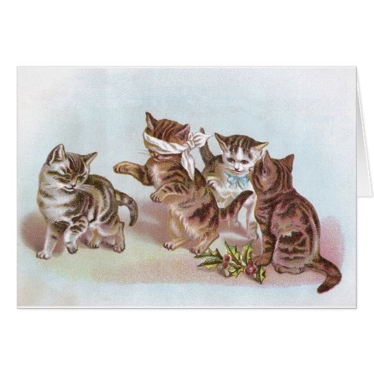 Cats Play Blind Man's Bluff Victorian Trade Card