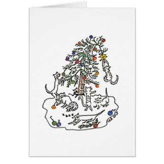 Cats Play in Christmas Tree Card