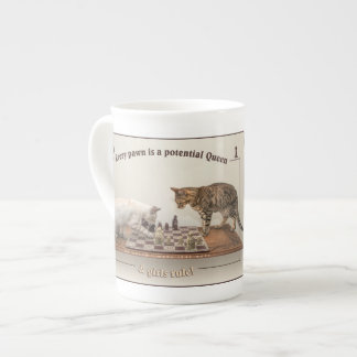 Cats Playing Chess on a China Mug