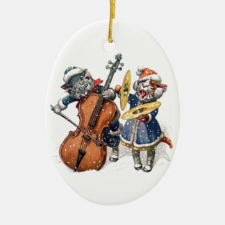 Cats Playing Christmas Music in the Snow Christmas Ornament