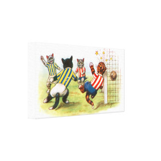 Cats playing football canvas print