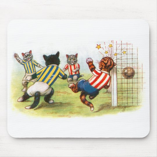 Cats playing football mouse pad