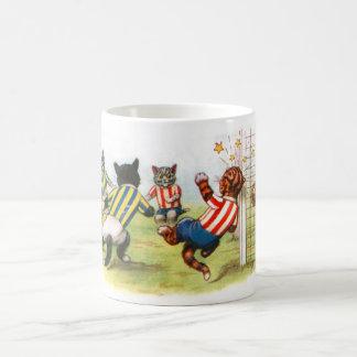 Cats playing football basic white mug