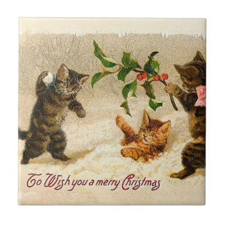 Cats playing in the snow Vintage Christmas Tile