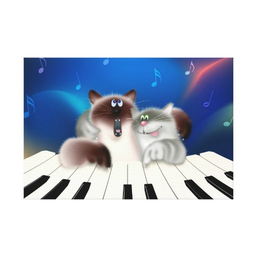 Cats Playing Piano Gallery Wrap Canvas