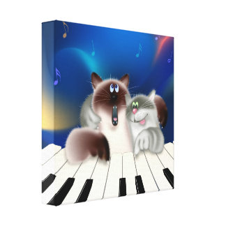 Cats Playing Piano Canvas Print