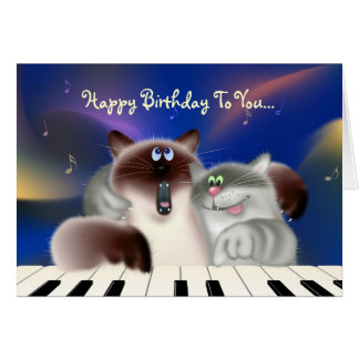Cats Playing Piano Card