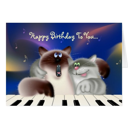 Cats Playing Piano Greeting Cards