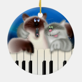 Cats Playing Piano Christmas Ornament