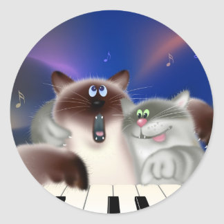 Cats Playing Piano Classic Round Sticker